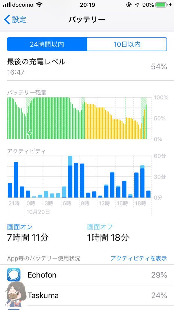 iPhoneのバッテリー画面