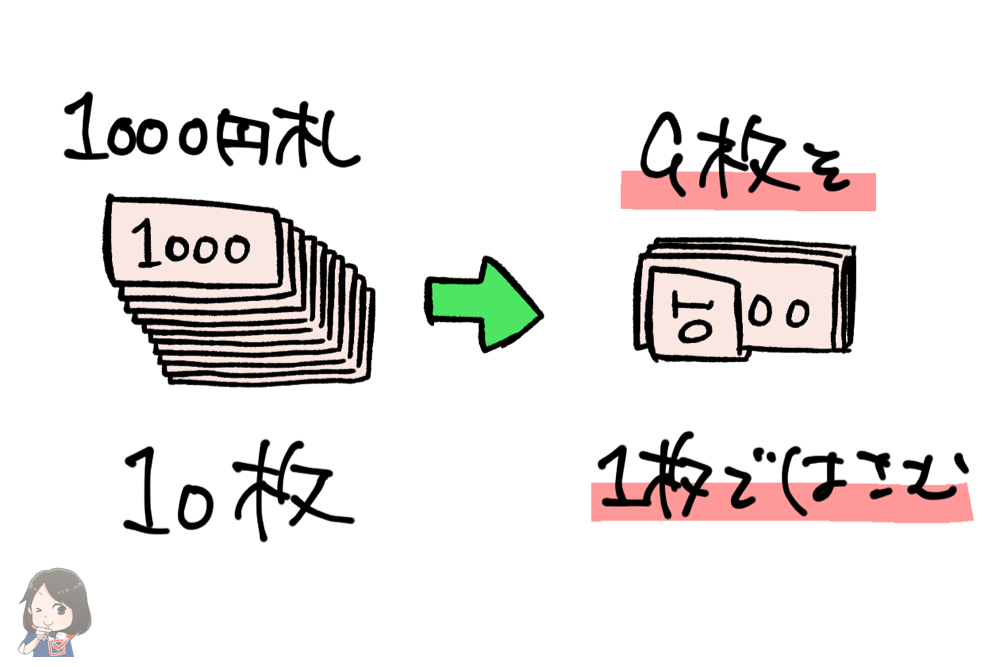 1000円札10枚を束にする
